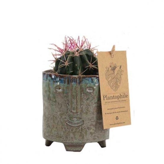 grün lasierter Blumentopf mit Gesicht