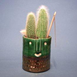 grüner Blumentopf mit Gesicht in Grün und Gold von Plantophile