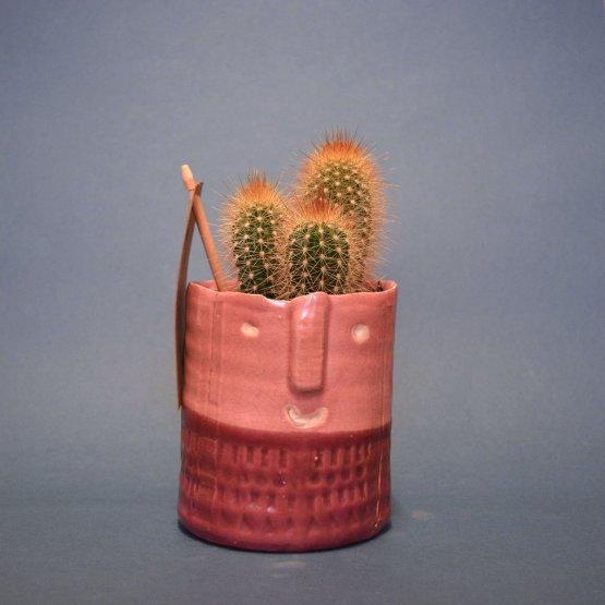 rosa Blumentopf Ibiza mit Gesicht von Plantophile