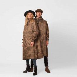 khaki farbener Regenponcho für Männer und Frauen aus recyceltem Polyester - Einheitsgröße