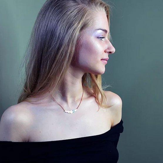 Collier Kette aus lackiertem Kupfer in Perlenform