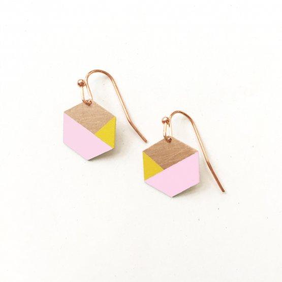 Hexagon Ohrhänger in rosa gelb