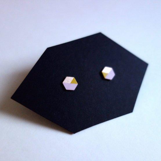 geometrische Ohrstecker Hexagon Rosa Gelb bedruckt handmade von Ruby on Tuesday