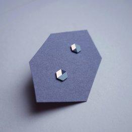 geometrische Ohrstecker Hexagon Mint Schwarz bedruckt handmade von Ruby on Tuesday