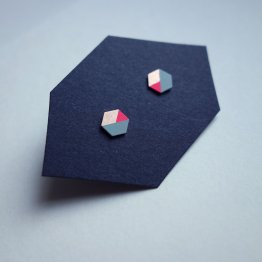geometrische Ohrstecker Hexagon Mint Pink bedruckt handmade von Ruby on Tuesday