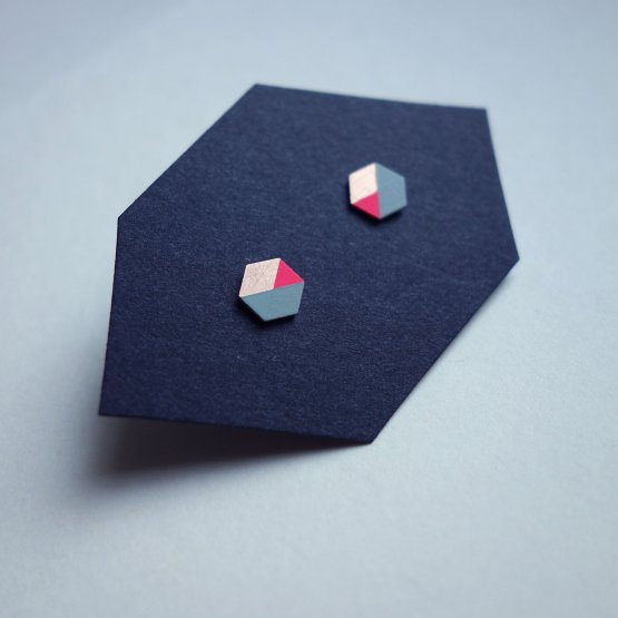 geometrische Ohrstecker Hexagon Mint Pink bedruckt handmade von Ruby on Tuesday