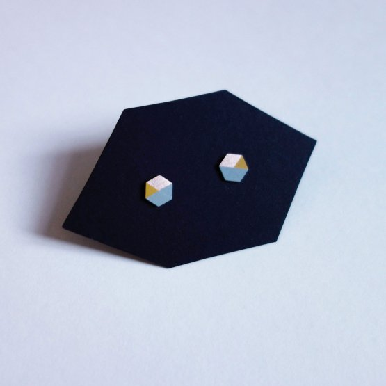 geometrische Ohrstecker Hexagon Mint Gelb bedruckt handmade von Ruby on Tuesday