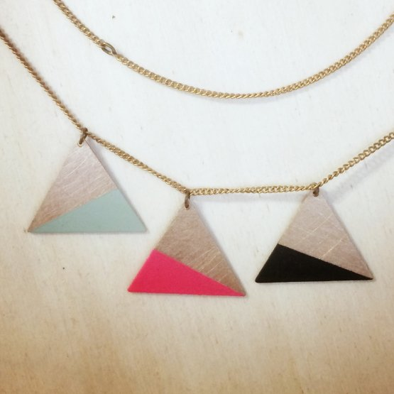 "ruby – Kette Collier ""3 Dreiecke"""