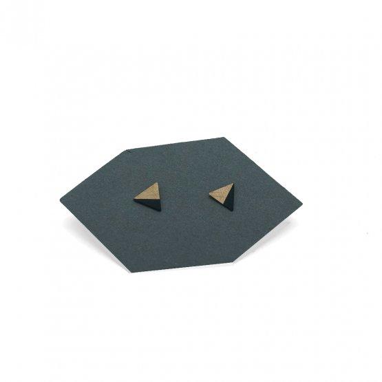 kleine kupfer dreieck ohrstecker zur hälfte scharz gefärbt