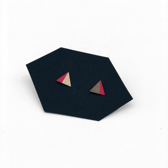 kleine dreieck kupfer ohrstecker zur hälfte pink gefärbt