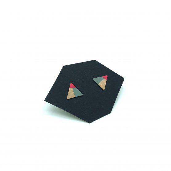 kleine dreieck ohrstecker mit türkisen und pinken akzenten