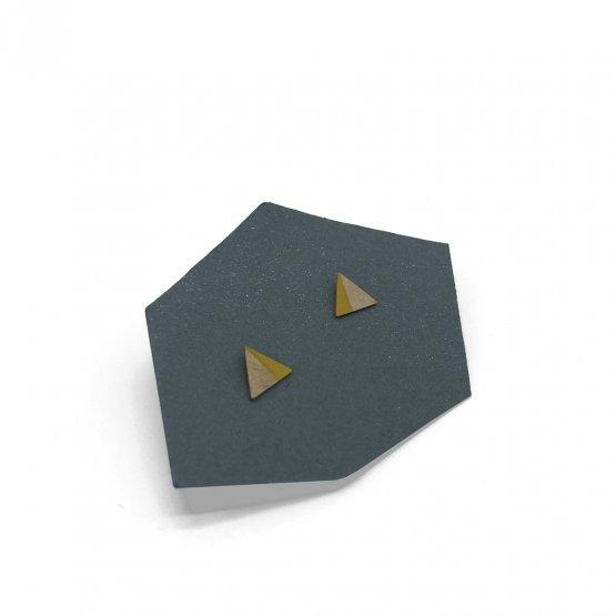 kleine dreieck kupfer ohrstecker zur hälfte gelben gefärbt