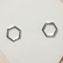 ruby Ohrstecker Mini-Hexagon in Silber