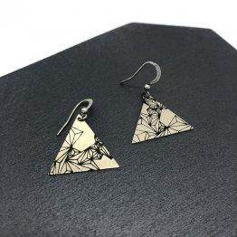 Dreieck Ohrringe Silber mit geometrischen Siebdruck