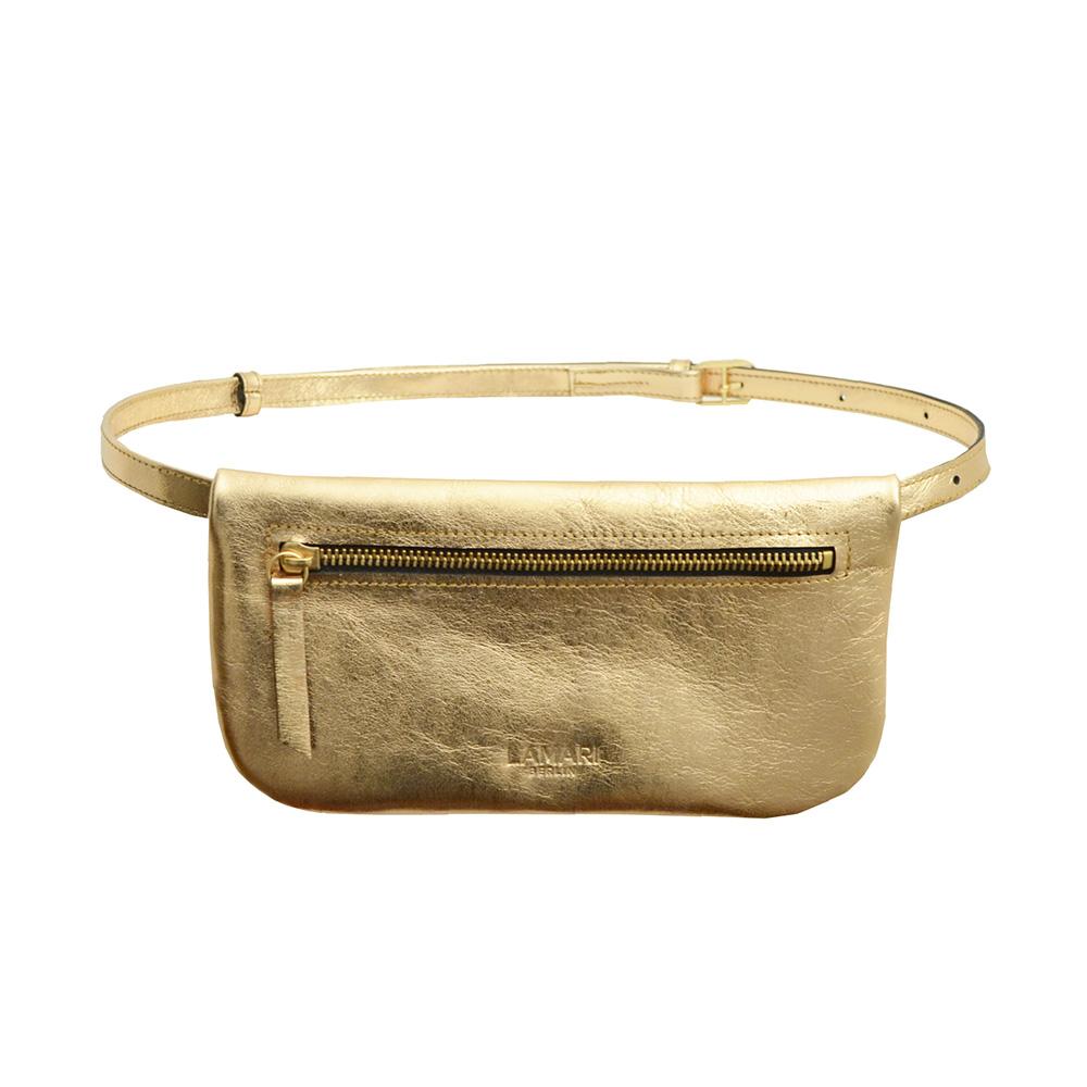Bumbag in Gold – eckige Gürteltasche von Lamari Berlin