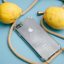 Handy-Kette Beige Natur – mobile necklace von xouxou
