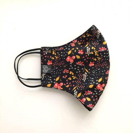 Nase-Mund Maske mit Blütena us Biobaumwolle - schwarze Behelfsmaske mit Blumen - beidseitig verwendbar